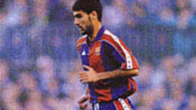 Photo of Guardiola in action as a player