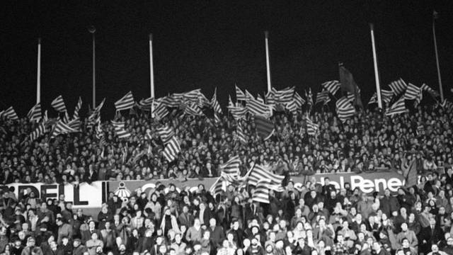1975. A Sea of Senyeres (Catalan Flags) at the Camp Nou
