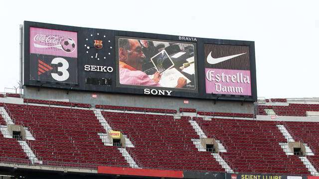 Video scoreboard and stadium megaphones