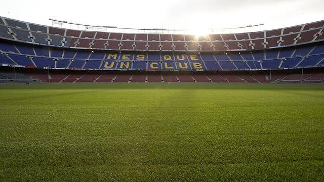 view of the Camp Nou from pitch level