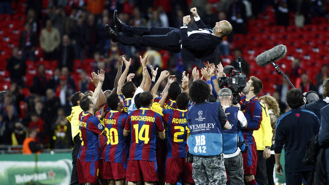 pep guardiola on air after winning a final