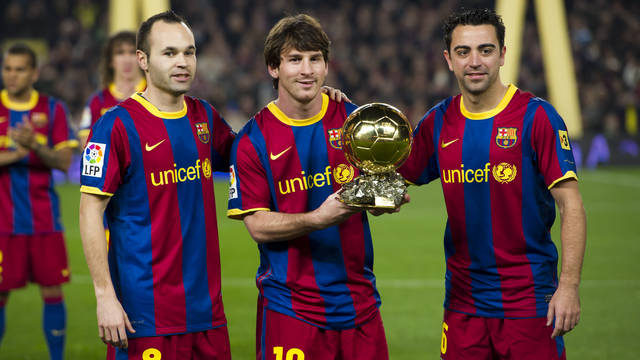 Xavi, Messi and Iniesta, candidates for the Ballon d'Or 2010