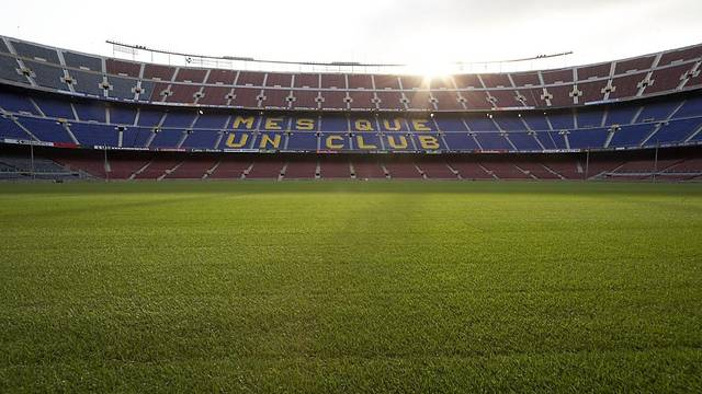 View of the Camp Nou playing field