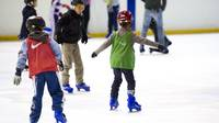 Photo of two small children learning to skate