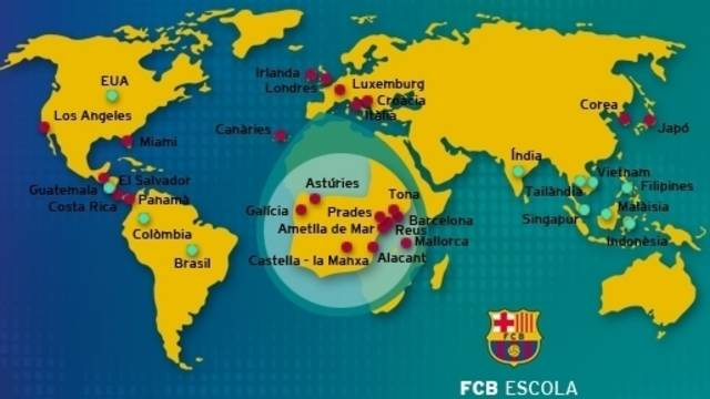 world map showing locations of Campus FCBEscola