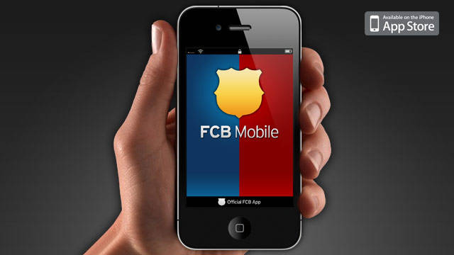 hand holding a phone using  FCB Mobile