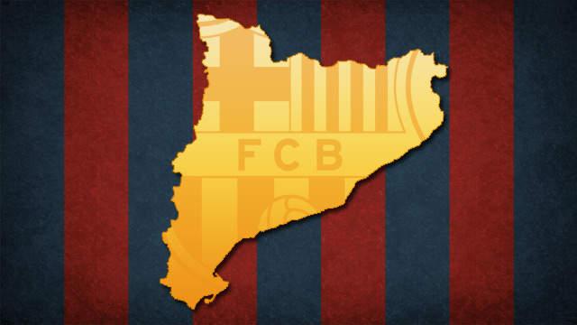 Mapa de Catalunya amb la bandera blaugrana de fons