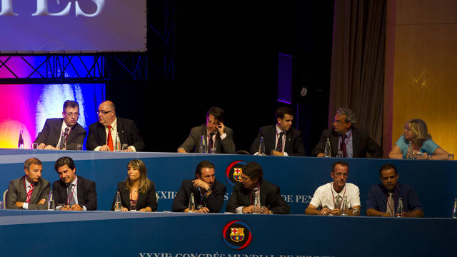 members of the penyes commission during the supporters clubs world congress
