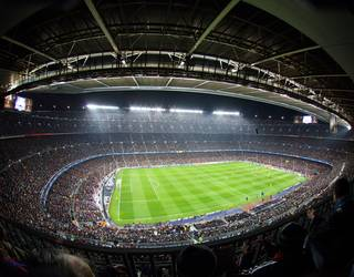 photo of the camp nou at night