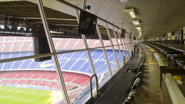 the view of the camp nou from the press box in the grandstand