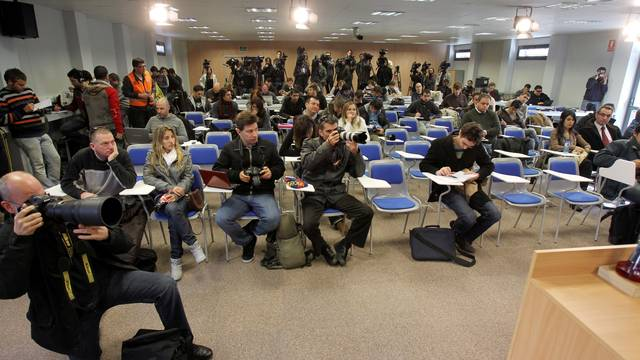 Reporters in the press room