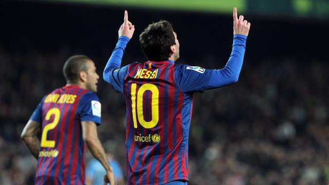 Messi celebrating one of his goals against Osasuna / PHOTO: MIGUEL RUIZ-FCB