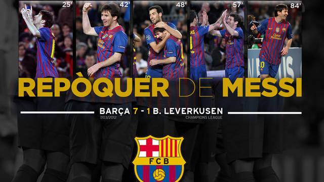 Fons pantalla, Repoker de Messi, Barça, Bayer Leverkusen, 7-0, català