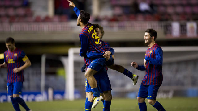 The Barça B players celebrating a goal /PHOTO: ARXIU FCB