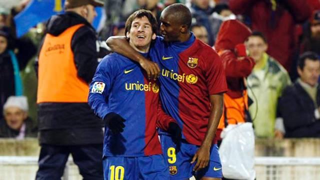 Messi and Eto'o in the 2008/09 season. PHOTO: MIGUEL RUIZ-FCB.