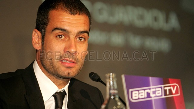 La presentació de Guardiola com entrenador del primer equip