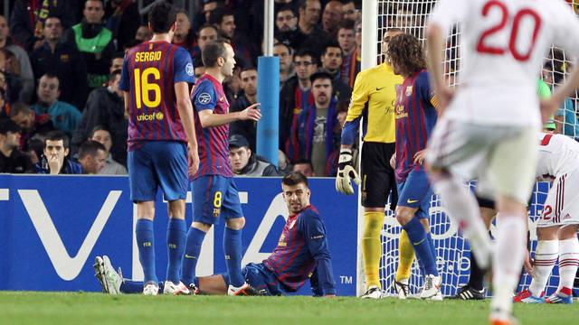 Piqué sustains thigh injury. PHOTO: MIGUEL RUIZ-FCB.