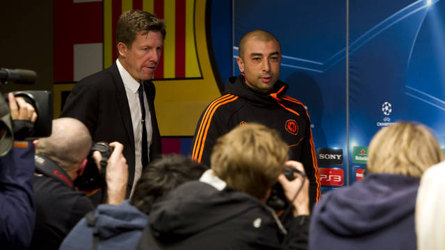 Roberto Di Matteo during the press conference / PHOTO: ÁLEX CAPARRÓS - FCB