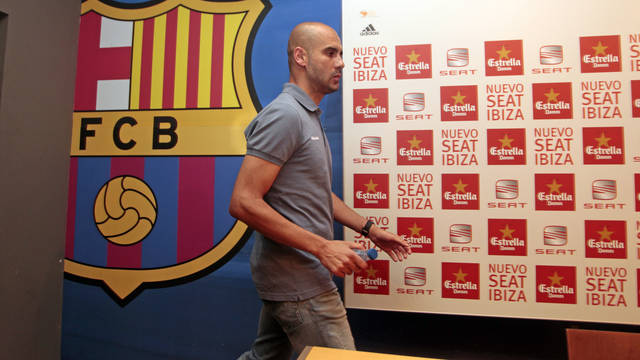 Guardiola after the press conference at the Camp Nou / PHOTO: MIGUEL RUIZ-FCB