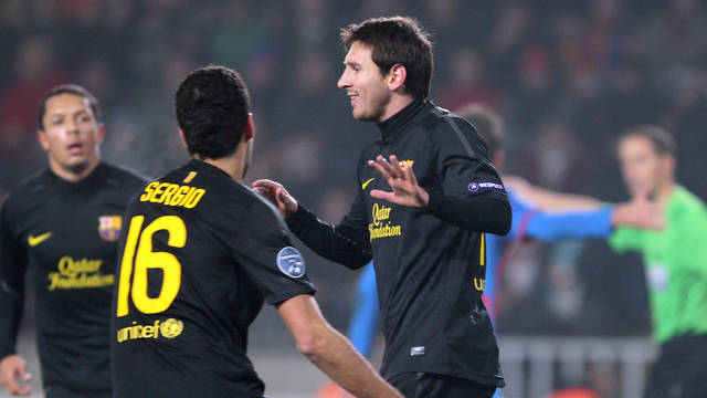 Messi celebra un dels gols a camp del Viktoria Pilsen / FOTO: ARXIU FCB