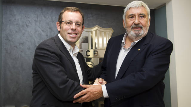 Sandro Rosell i Jaume Llaurad. FOTO: LEX CAPARRS-FCB.
