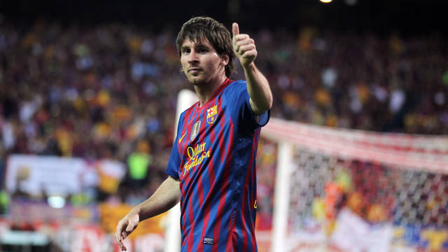 Messi celebrates his goal in the Cup Final / PHOTO: ARXIU FCB