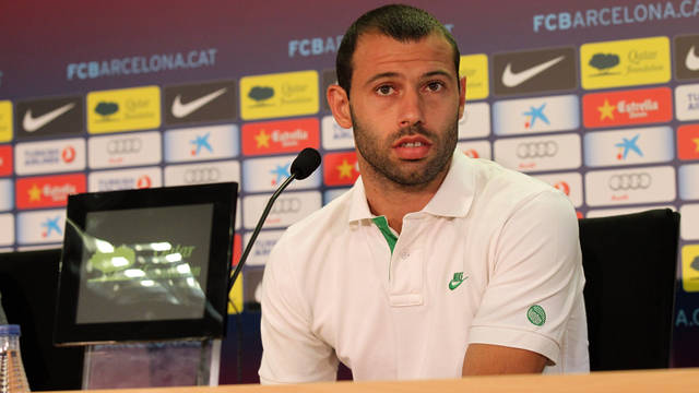 Javier Mascherano during today's press conference / PHOTO: MIGUEL RUIZ - FCB