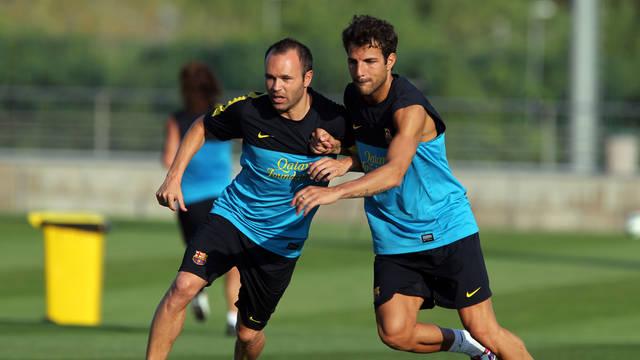 Iniesta i Cesc, a l'entrenament d'aquest dilluns / FOTO: MIGUEL RUIZ - FCB