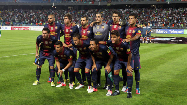 Alves, Mascherano, Messi, Alexis, Afellay, Adriano and Dos Santos against Raja / PHOTO: MIGUEL RUIZ - FCB