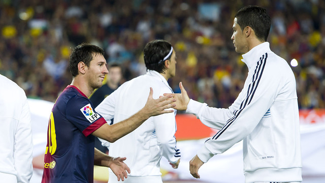 Leo Messi and Cristiano Ronaldo in the 2012 Spanish Super Cup / PHOTO: ÁLEX CAPARRÓS - FCB