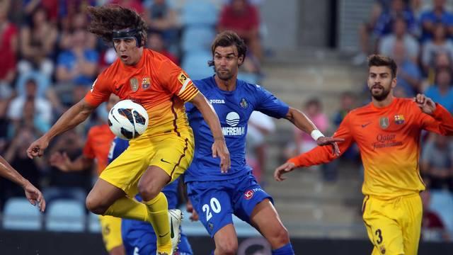 Puyol and Piqué, at Getafe / PHOTO: ARXIU FCB