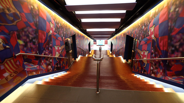 View from the top part of the players tunnel before going downto go out to the Camp Nou playing field