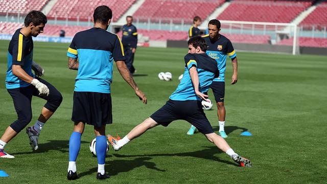 Una acció de l'entrenament d'aquest diumenge. FOTO: MIGUEL RUIZ-FCB.