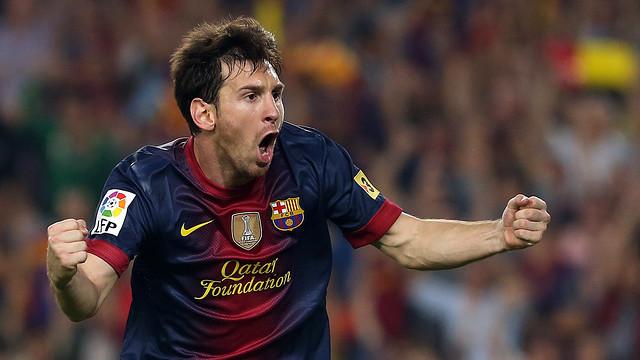 Messi celebra el seu gol de falta, el 2-1 / FOTO: MIGUEL RUIZ-FCB