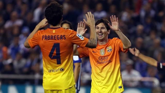 Cesc, autor de tres assistències, i Messi, autor d