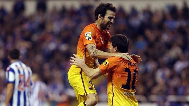 Cesc Fàbregas i Messi han estat protagonistes a Riazor / FOTO: MIGUEL