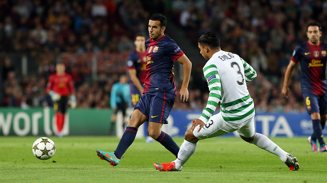 Pedro against Celtic / PHOTO: MIGUEL RUIZ - FCB