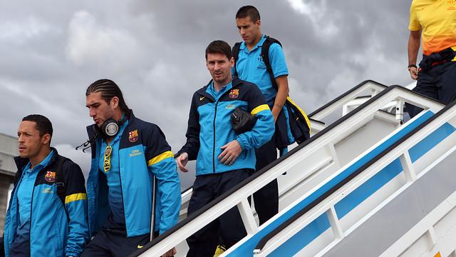 L'equip, arribant a Madrid (viatge). FOTO: MIGUEL RUIZ-FCB.