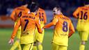 Villa i Iniesta, autors de 2 dels 3 gols contra l'Alabès. FOTO: MIGUEL RUIZ-FCB.