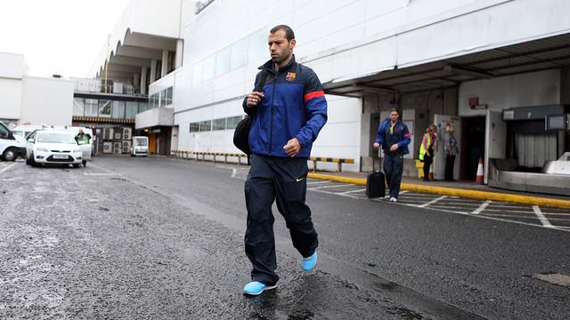 Javier Mascherano, a l'arribada a Glasgow / FOTO: MIGUEL RUIZ - FCB