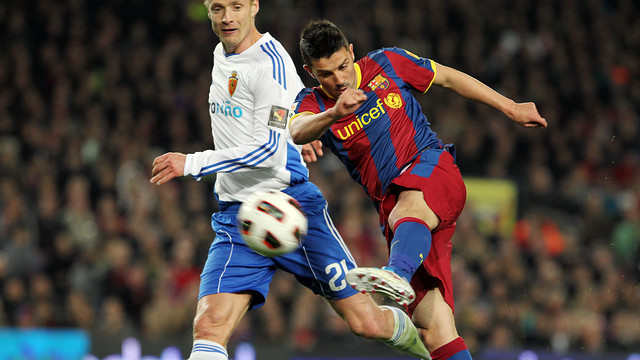 David Villa, face à Saragosse en 2010/11 / PHOTO: ARXIU FCB