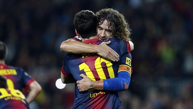 Puyol abraça Messi després d'un gol. FOTO: MIGUEL RUIZ-FCB.