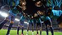 Pinya de l'equip abans de començar el partit contra el Saragossa / FOTO: MIGUEL RUIZ - FCB