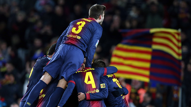 Barça players celebrate a goal against Athletic Club / PHOTO: MIGUEL RUIZ-FCB