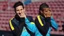 Messi i Rafinha, a l'entrenament d'aquest dimecres abans de rebre el Benfica / FOTO: MIGUEL RUIZ - FCB