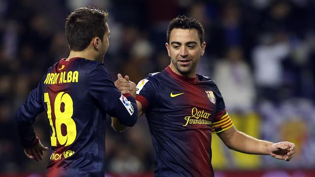 Jordi Alba and Xavi Hernández / PHOTO: ARCHIVE FCB