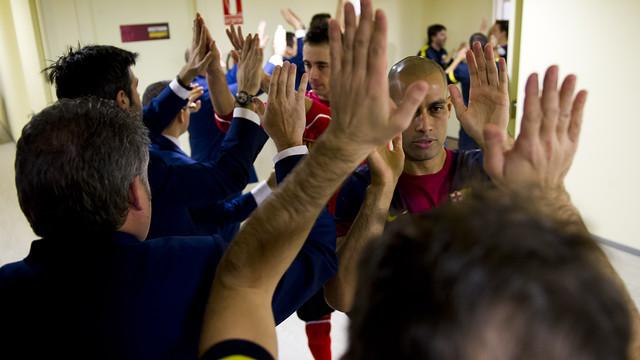 Los jugadores, antes del partido contra ElPozo. FOTO: ÁLEX CAPARRÓS - FCB