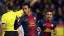 Thiago celebrates his goal at La Rosaleda / PHOTO: MIGUEL RUIZ-FCB