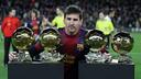 Messi amb les 4 Pilotes d'Or / FOTO: MIGUEL RUIZ - FCB