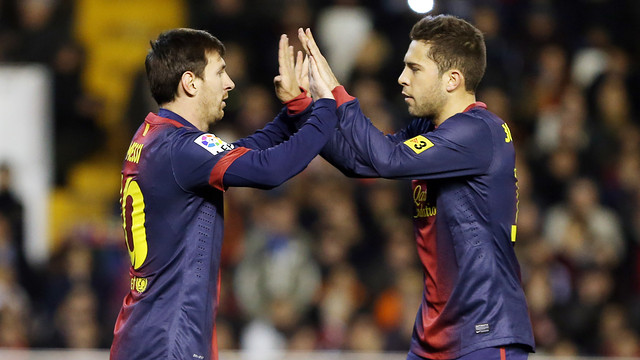 Messi and Alba / PHOTO: MIGUEL RUIZ - FCB